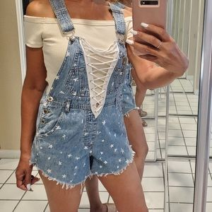 LF Furst of a kind denim short overall One Size